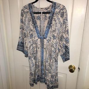 Free People blue and white tunic dress size medium